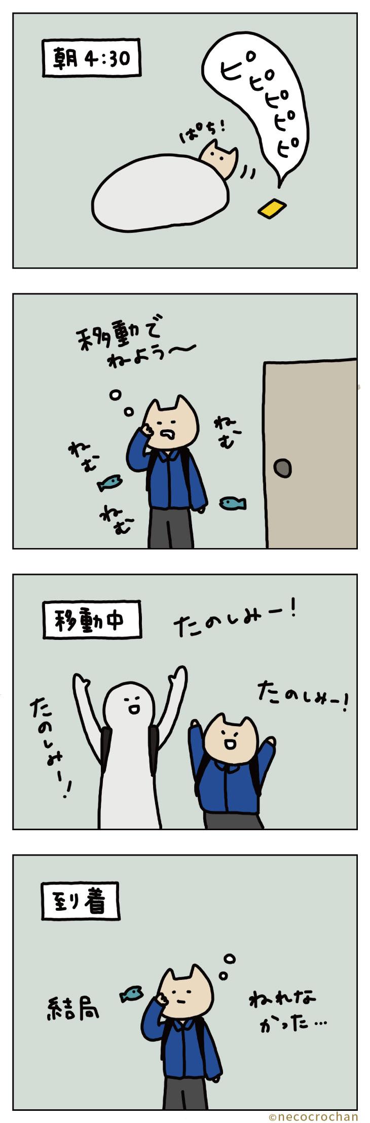 4コマ漫画ねこくろにっき「旅行〜あさ〜」
