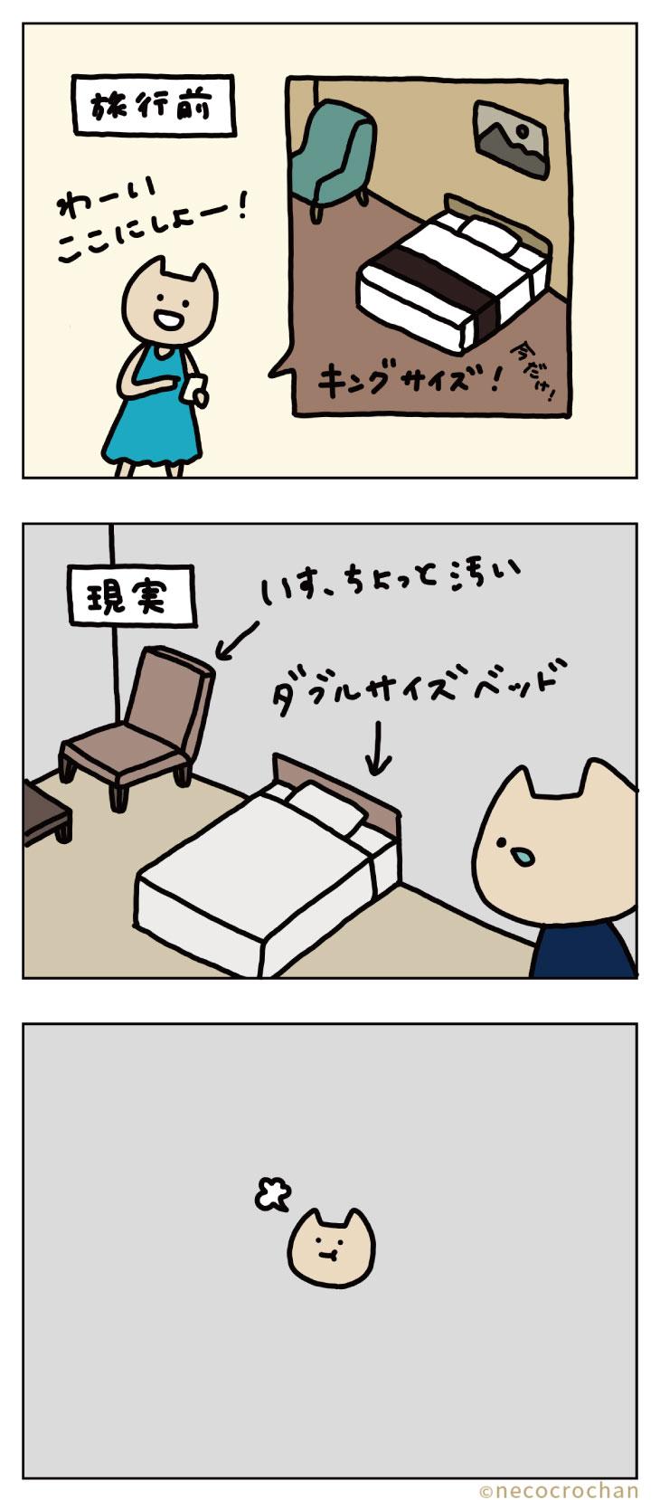 4コマ漫画ねこくろにっき「旅行〜ホテル〜」